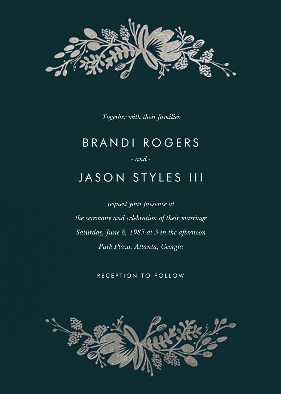 Floral Silhouette (Invitation) - Midnight Green/Silver - Rifle Paper Co. - All