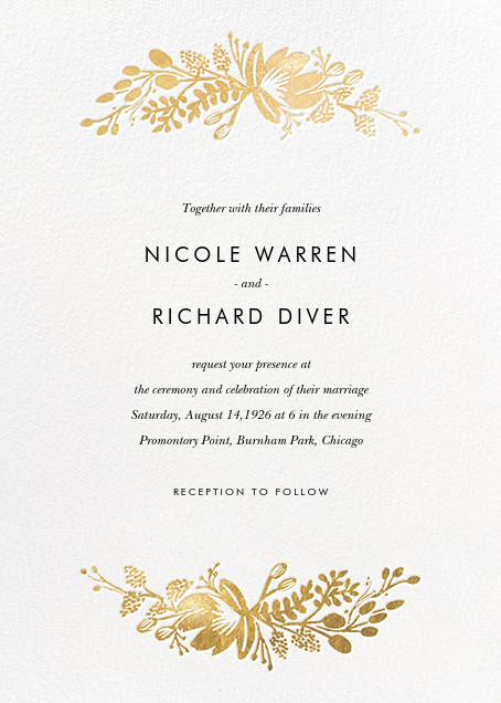 Floral Silhouette (Invitation) - White/Gold - Rifle Paper Co. - All