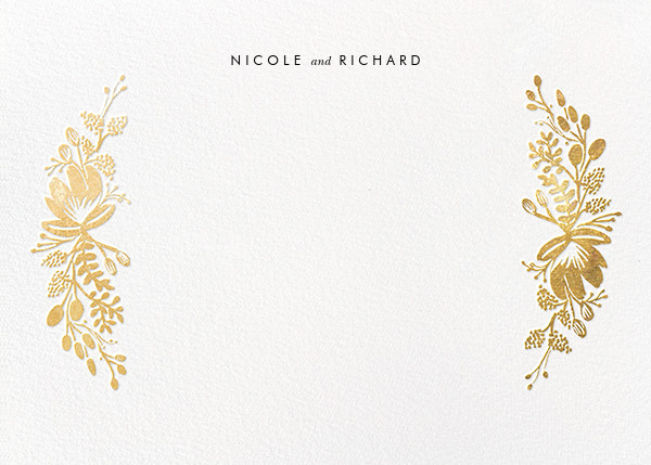 Floral Silhouette (Stationery) - Gold - Rifle Paper Co. - Personalized stationery