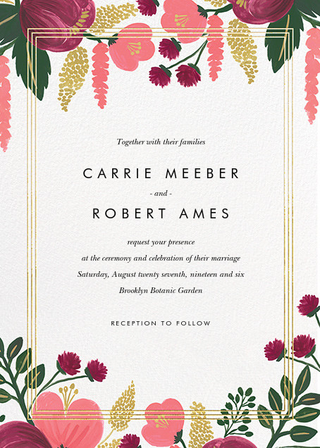 Raspberry Floral (Invitation) - Gold - Rifle Paper Co. - All