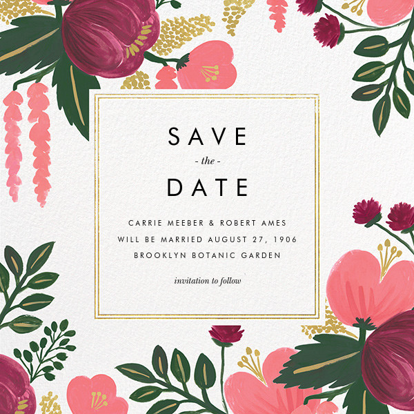 Raspberry Floral (Save the Date) - Gold - Rifle Paper Co. - Destination