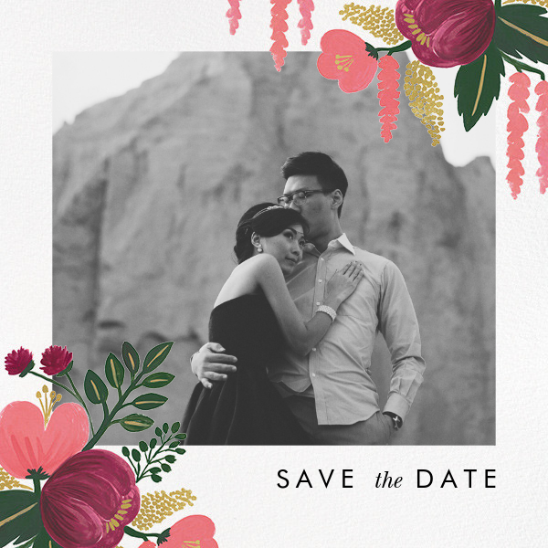 Raspberry Floral (Photo Save the Date) - Rifle Paper Co. - Destination