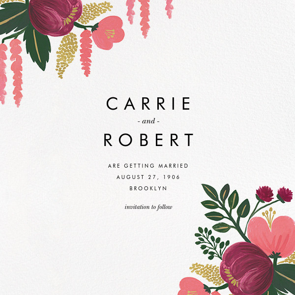 Raspberry Floral (Photo Save the Date) - Rifle Paper Co. - Destination - card back