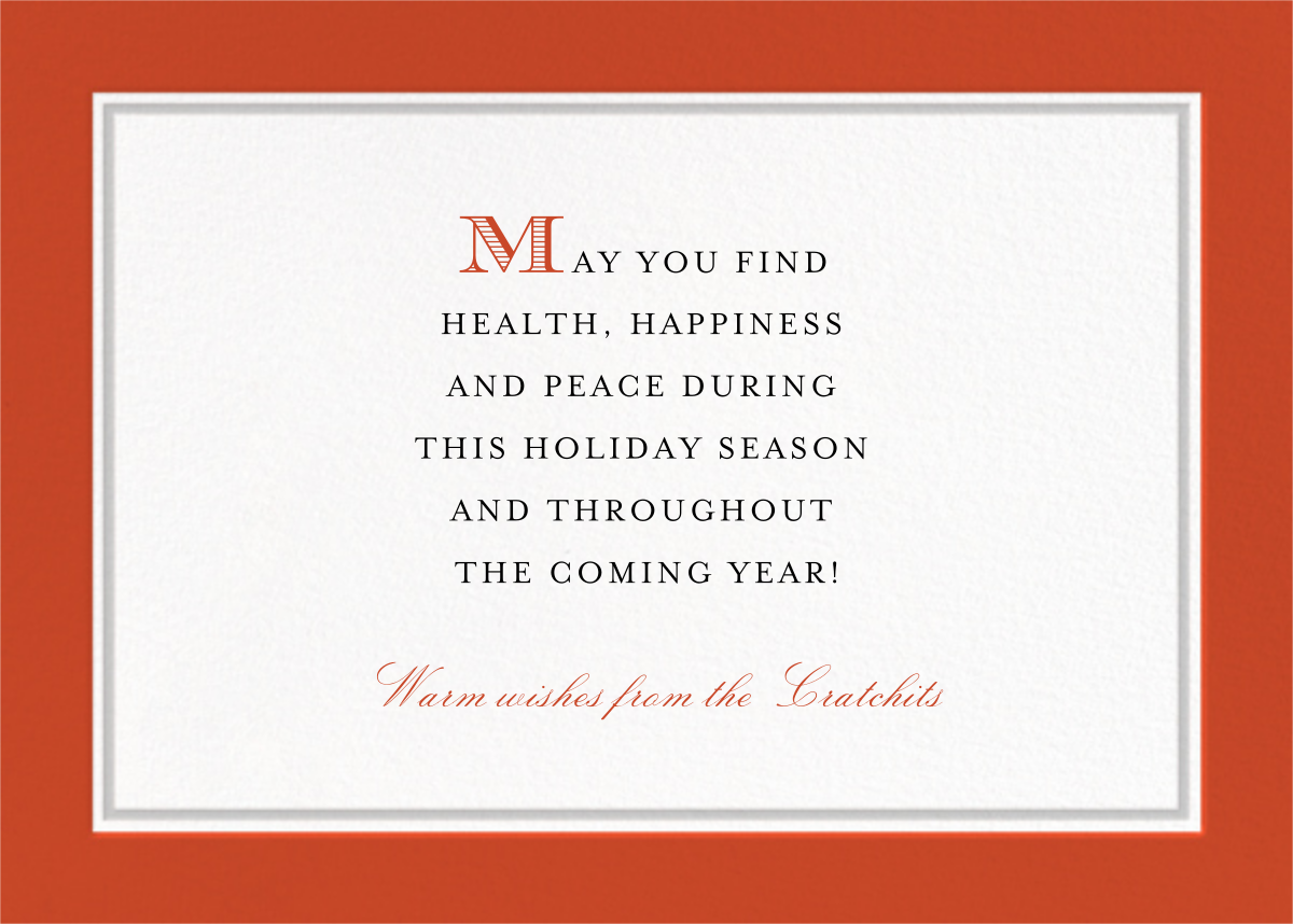 Hampstead Horizontal - Blood Orange/Winter Gray - Paperless Post - Holiday cards - card back