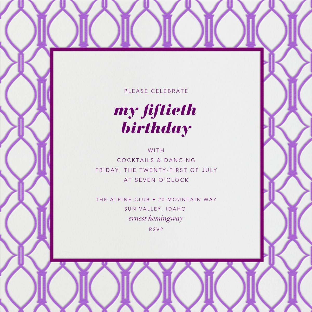 Cadogan Purple Square - Paperless Post - Adult birthday