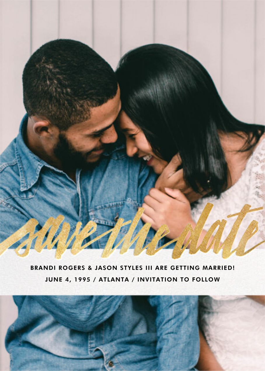Clarissa (Full Photo) - Gold - Paperless Post - Party save the dates