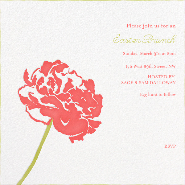 Carnation (Square) - Coral/Chartreuse - Paperless Post - Spring entertaining