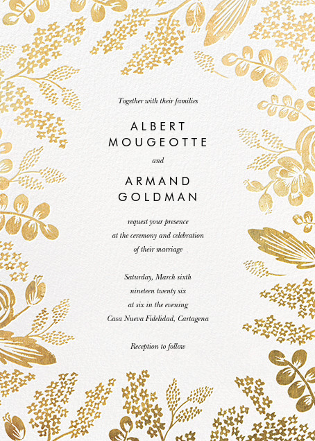 Heather and Lace (Invitation) - White/Gold - Rifle Paper Co. - All
