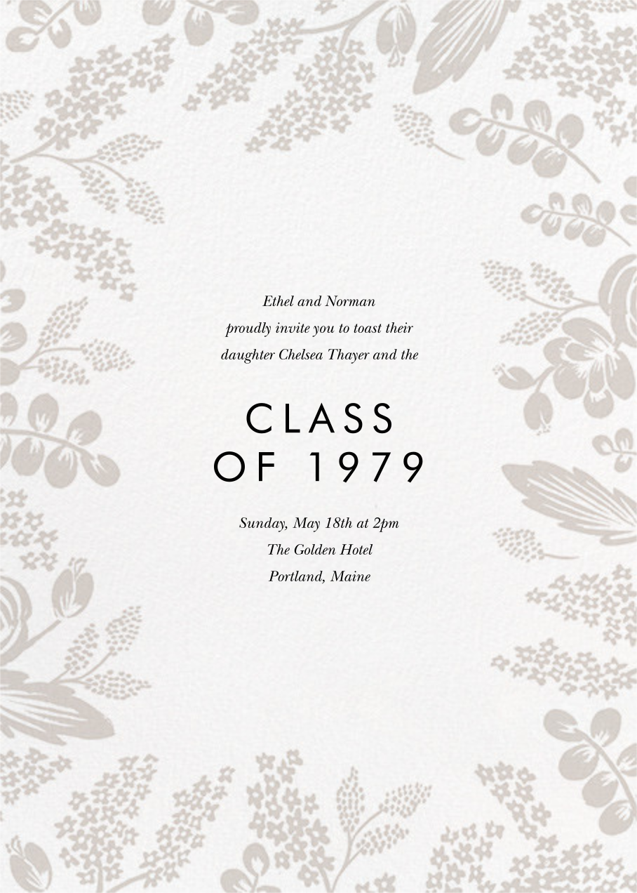 Heather and Lace (Tall Frame) - Gold/Gray - Rifle Paper Co. - Graduation party - card back