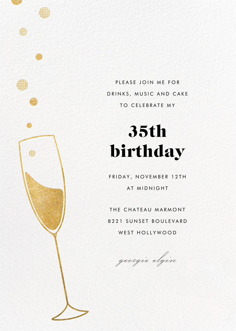 Champagne Bubbles - Gold - Paperless Post - Adult birthday