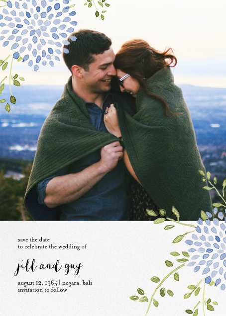 Dahlias (Photo Save the Date) - Blue - Paperless Post - Photo