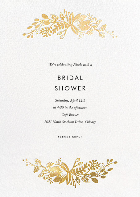 Floral Silhouette - White/Gold - Rifle Paper Co. - Bridal shower