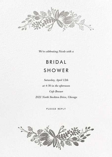 Floral Silhouette - White/Silver - Rifle Paper Co. - Bridal shower