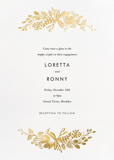 Floral Silhouette - White/Gold - Rifle Paper Co. - Engagement party