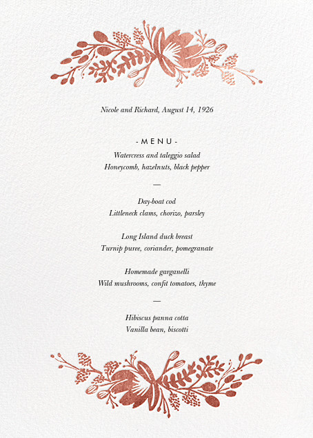 Floral Silhouette (Menu) - White/Rose Gold - Rifle Paper Co. - Menus