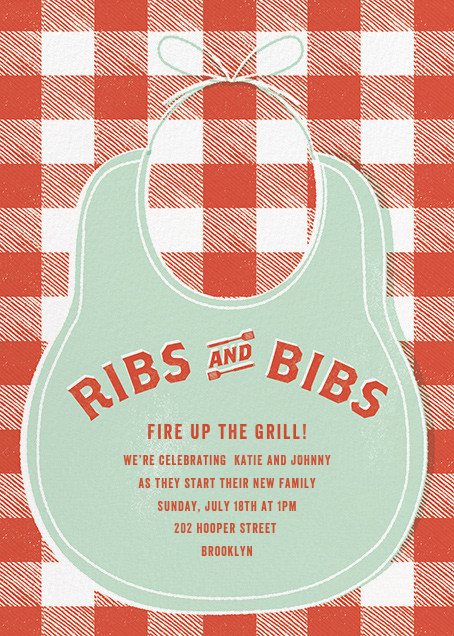 Ribs and Bibs - Mint - Paperless Post - Baby shower