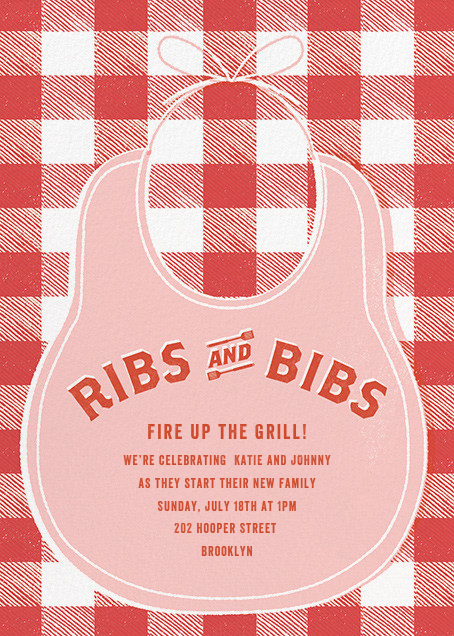Ribs and Bibs - Pink - Paperless Post - Baby shower
