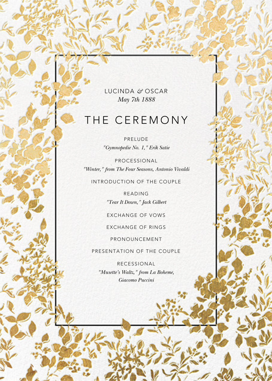 Richmond Park (Program) - White/Gold - Oscar de la Renta - Menus and programs