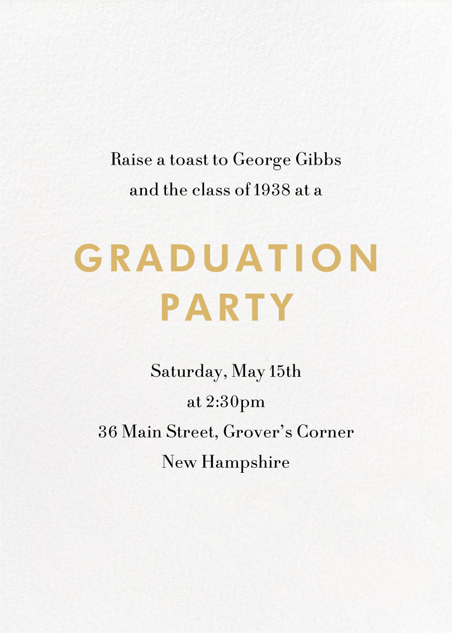 Eureka - Gold - Paperless Post - Graduation party - card back