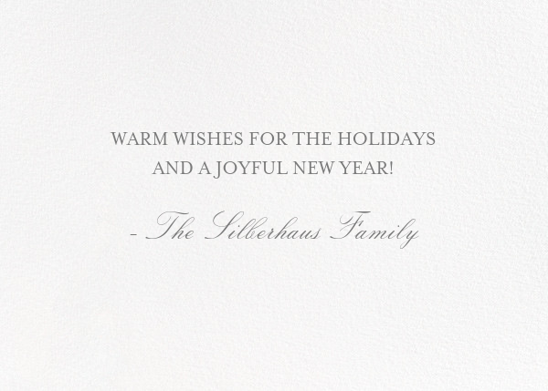Happy Holidays - Photo - Bernard Maisner - Holiday cards - card back