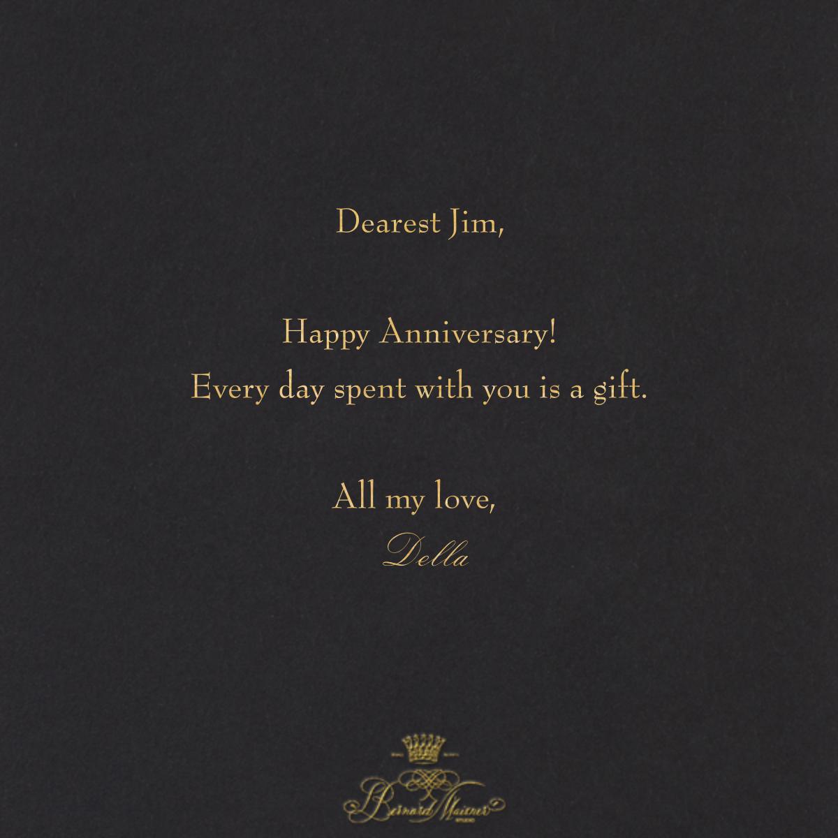 Happy Anniversary Script - Black and Gold - Bernard Maisner - Anniversary cards - card back