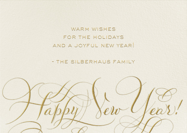 Happy New Year Script - Cream/Gold - Bernard Maisner - New Year