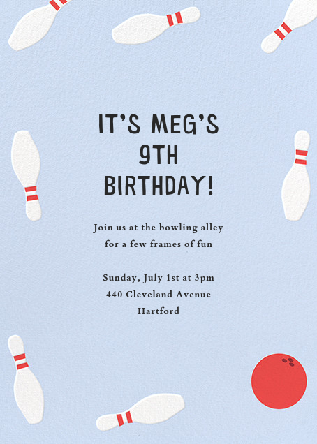 Bowling Pins Kids Birthday Invitation
