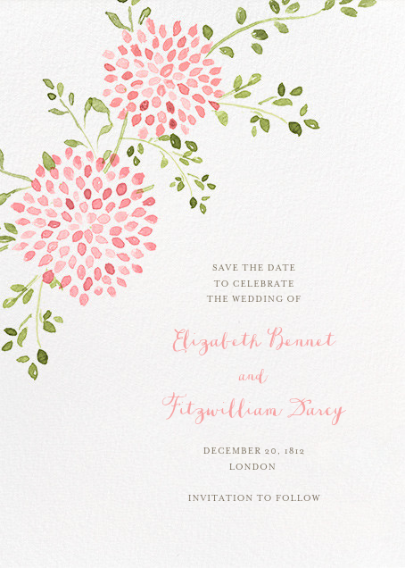 Dahlias (Tall Save the Date) - Pink - Paperless Post - Save the date