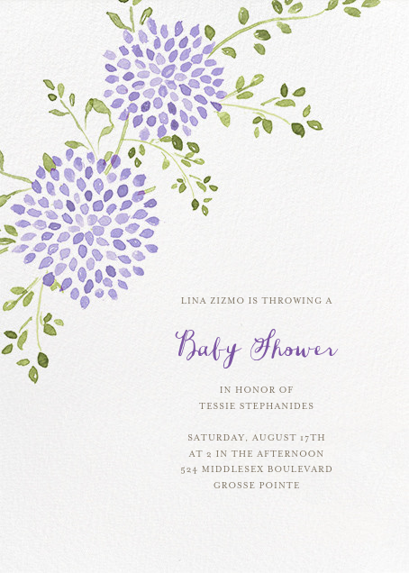 Dahlias (Tall) - Purple - Paperless Post - Baby shower