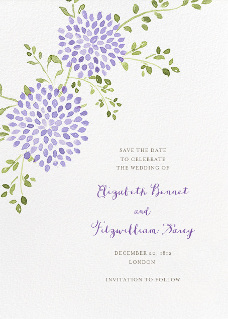 Dahlias (Tall Save the Date) - Purple - Paperless Post - Save the date