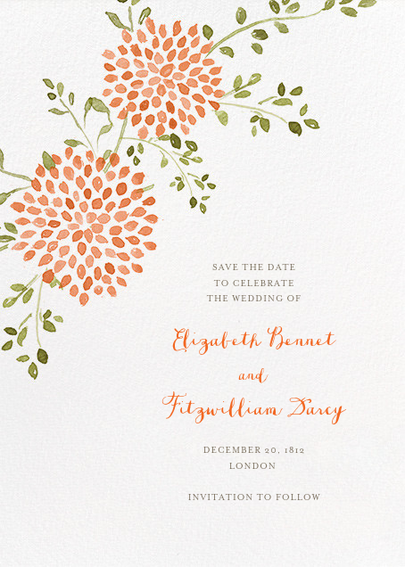 Dahlias (Tall Save the Date) - Pumpkin - Paperless Post - Save the date