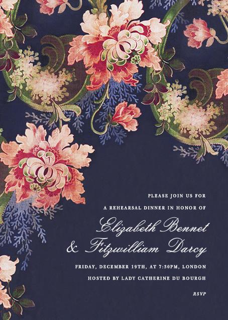 Rose Floral Ikat I - Navy - Oscar de la Renta - Adult birthday