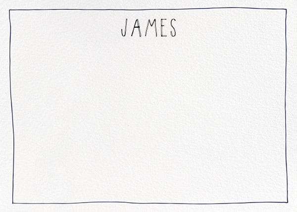 Single Hand Drawn Border - Blue - Linda and Harriett - Personalized stationery