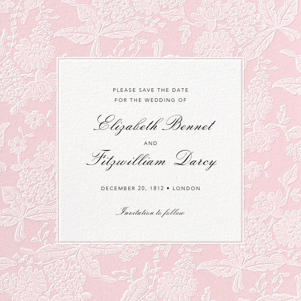 Hydrangea Lace I (Save the Date) - Pink - Oscar de la Renta - Save the date