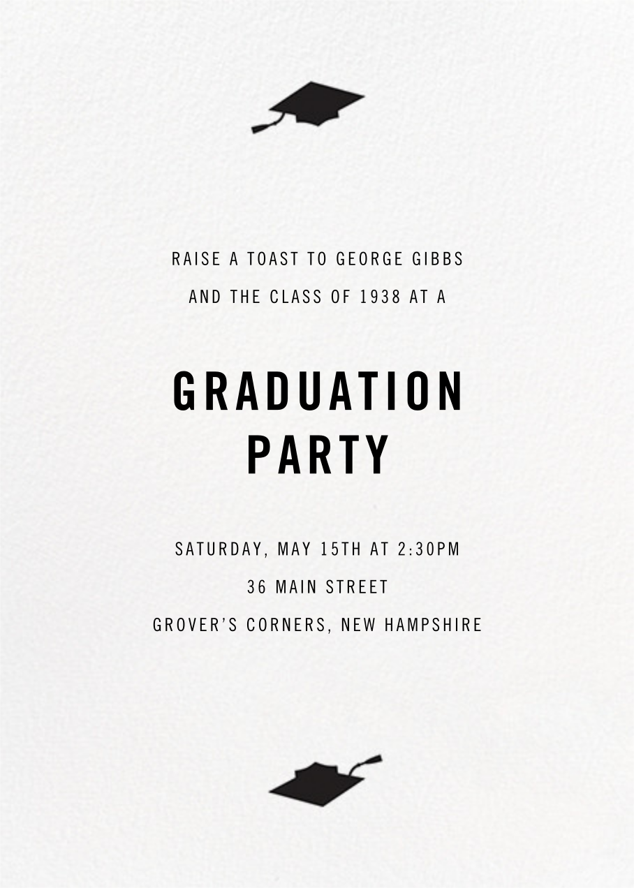 Confetti Caps (Photo) - Gold - Paperless Post - Graduation party - card back