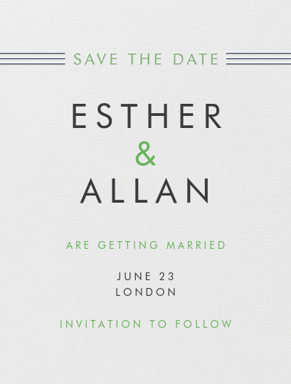 Collins Avenue (Save The Date) - Charcoal Gray & Spring Green - Crane & Co. - Save the date