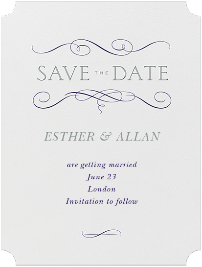 Anjou (Save The Date) - Amethyst and Pewter Gray - Crane & Co. - Save the date