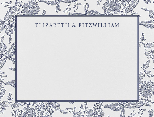 Hydrangea Lace II (Thank You) - Navy - Oscar de la Renta - Personalized stationery