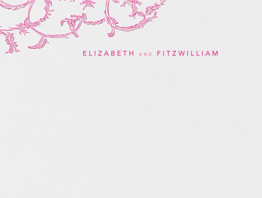 Silk Brocade I (Stationery) - Raspberry - Oscar de la Renta - Personalized stationery