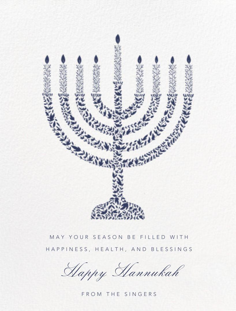 Vine Menorah - Navy - Paperless Post - Hanukkah
