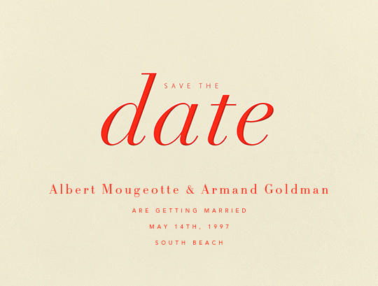 Pierre - Geranium  - Paperless Post - Party save the dates