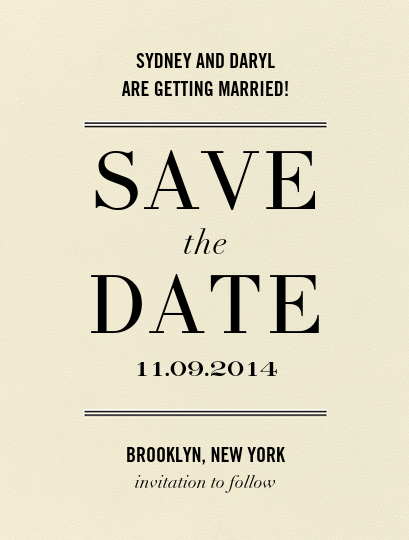 Typographic I (Save the Date) - kate spade new york - Save the date