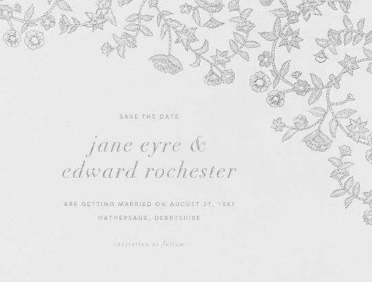 Stitched Floral I - Platinum (Save the Date) - Oscar de la Renta