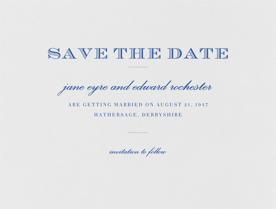 Marchmain (Save The Date) - Regent Blue - Paperless Post - Save the date