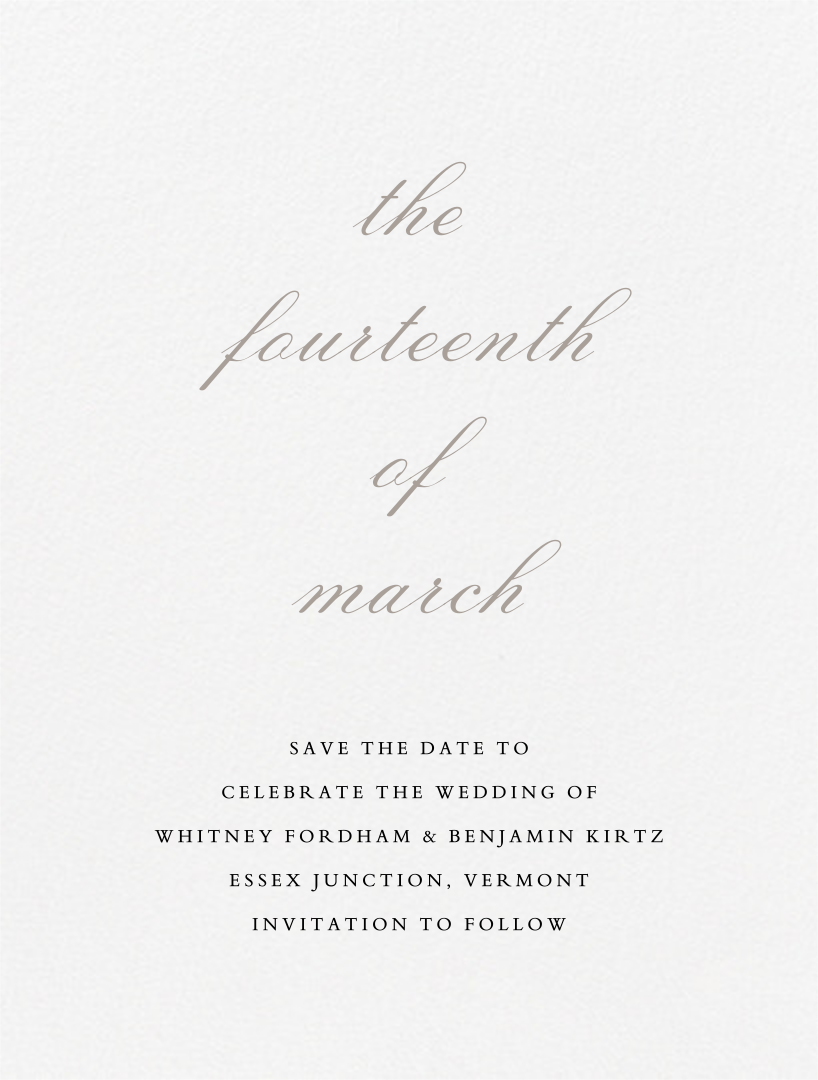 Ligature (Save the Date) - Taupe - Vera Wang - Save the date