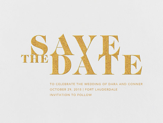 Prelude (Save the Date) - Gold - Vera Wang - Classic