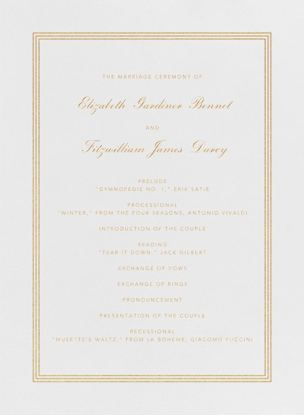 Whitby (Program) - Medium Gold - Paperless Post - Menus and programs