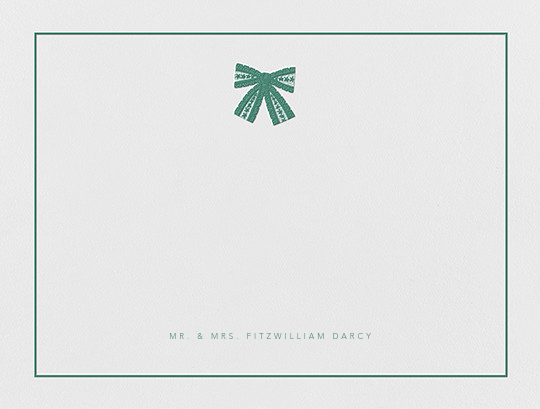 Tie the Knot (Stationery) - Hunter Green - Oscar de la Renta - Personalized stationery