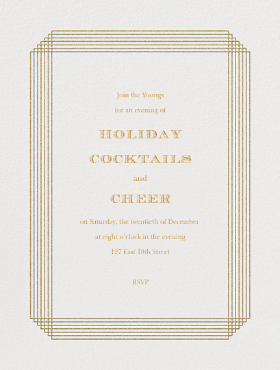 Escalier (Invitation) - Ivory and Gold - Paperless Post - Holiday Favorites