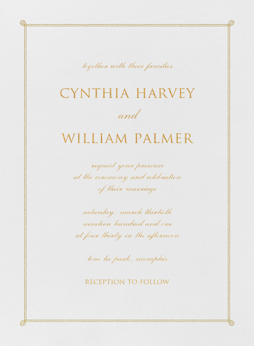Double Loop Frame I (Invitation) - Gold - Paperless Post - All